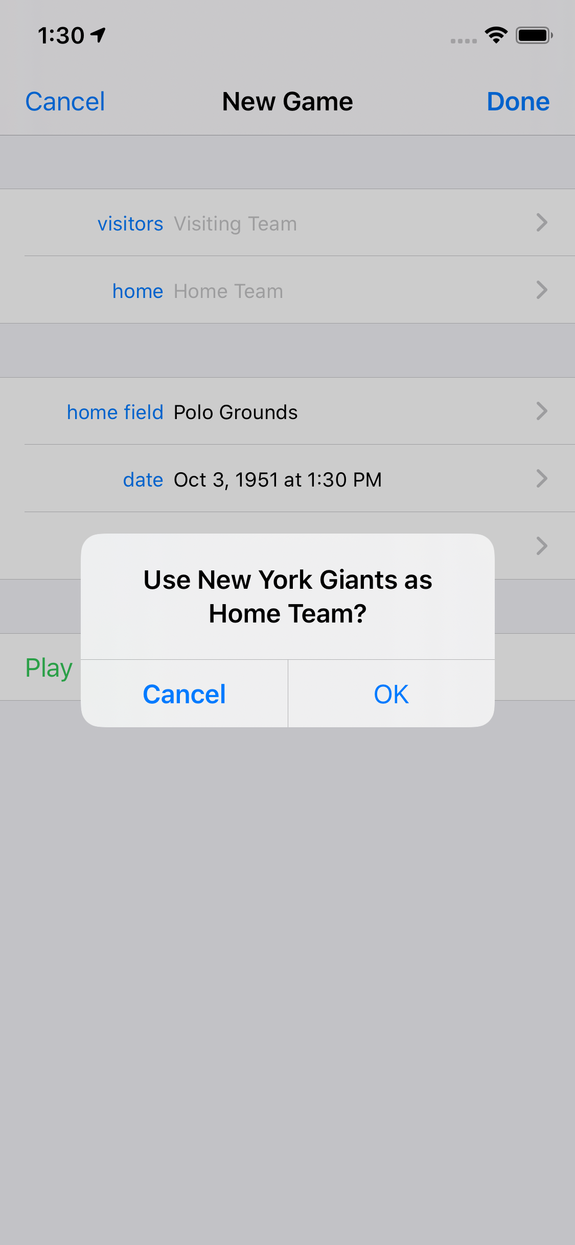 Use New York Giants as Home Team?