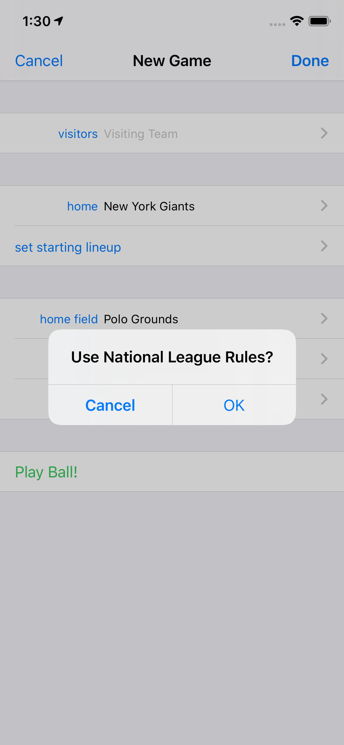 Use National League Rules?